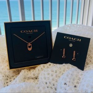 🌊 coach earring and necklace set